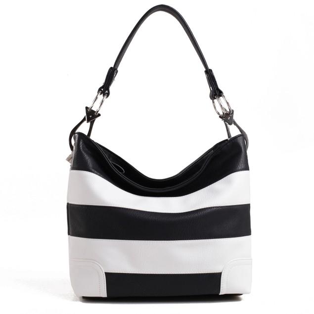 MKF Collection Emily Soft Vegan Leather Stripe Hobo Handbag by Mia K Farrow