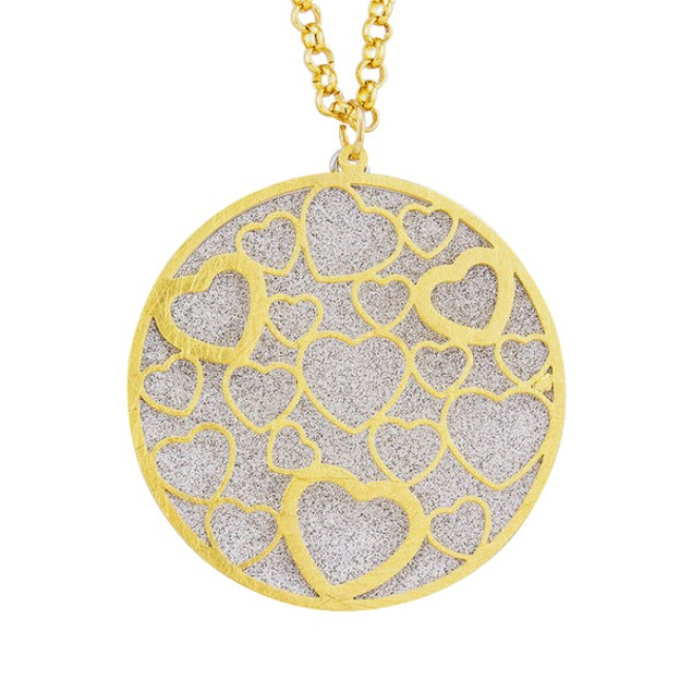 18kt Gold Plated Circle Heart Glitter Necklace