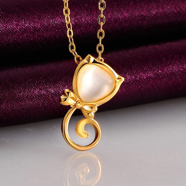 Gold Plated Cat with Bowtie Necklace