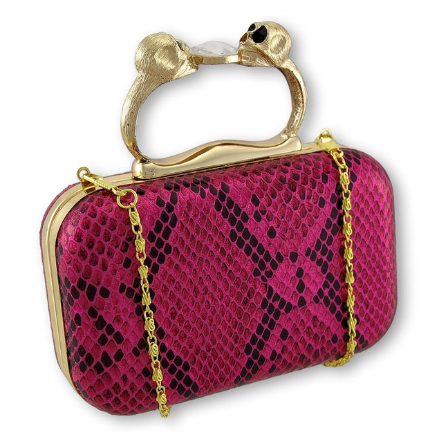 Metallic Hot Pink Snakeskin Textured Clutch With Womens Clutch Handbags