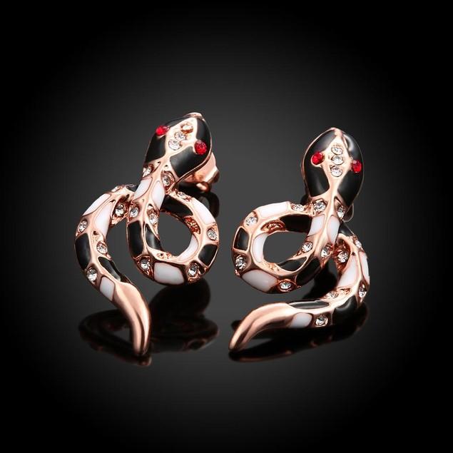 Rose Gold Plated Snake Studded Earrings
