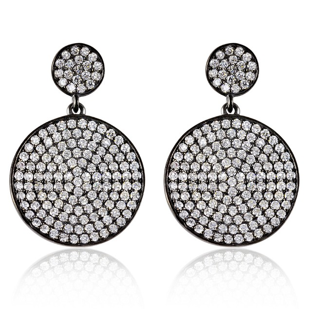 Black IP Plating Over Sterling Silver Micro Pave Circle Drop Earrings