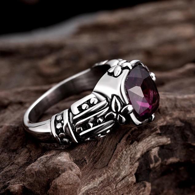 Lavender Gem Stainless Steel Ring