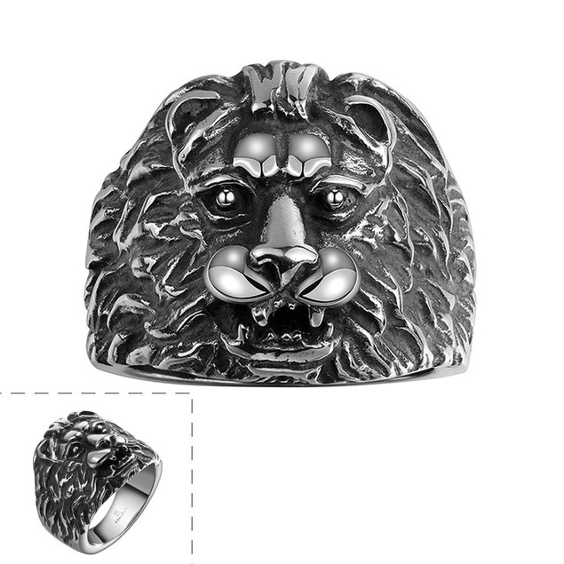 Stainless Steel Lion's Head Ring
