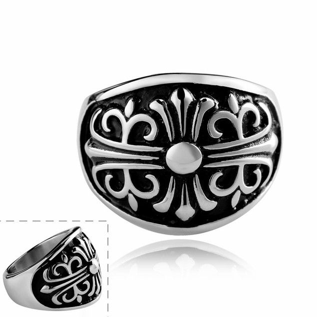 Stainless Steel Shield Emblem Ring