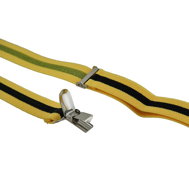 Bright Yellow / Black Striped Adjustable Mens Suspenders
