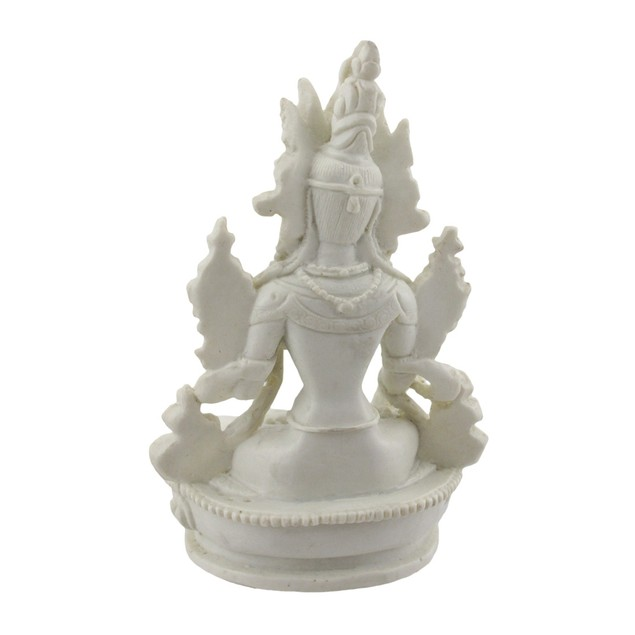 Beautifully Detailed White Tara Statue Marble Look Statues
