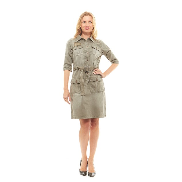 Red Jeans Women's Military Army Fatigue Camo Dress with Belt