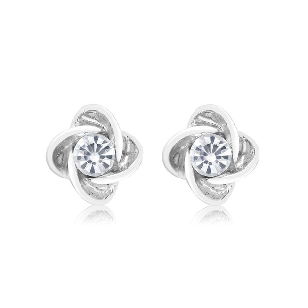 Cubic Zirconia Knot Twist Earrings