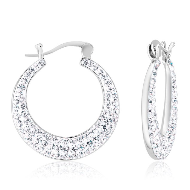 Crescent Crystal Hoop Earrings