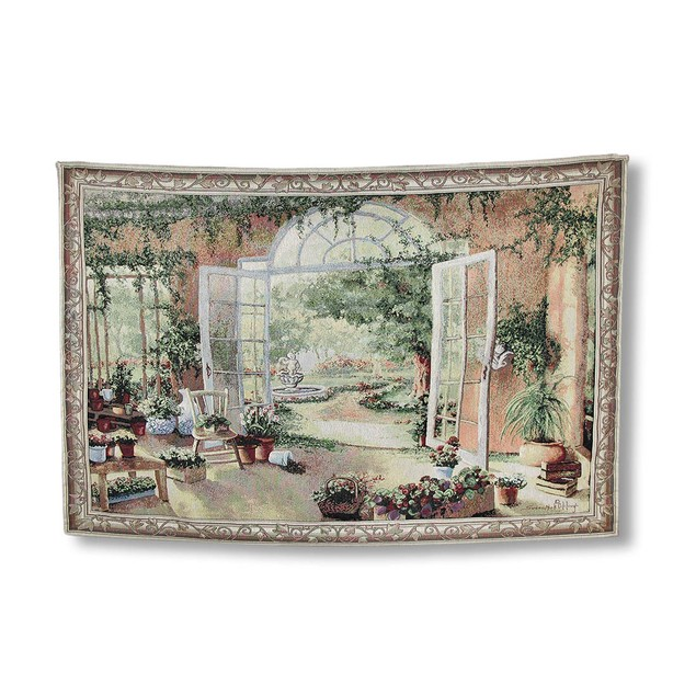 French Doors Garden View Tapestry Wall Hanging Tapestries