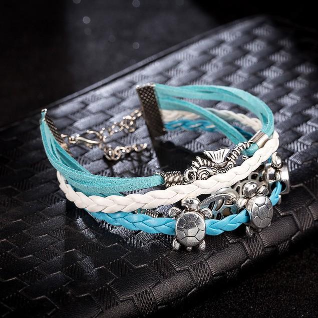 Baby Blue Leather Classic Sleek Bracelet