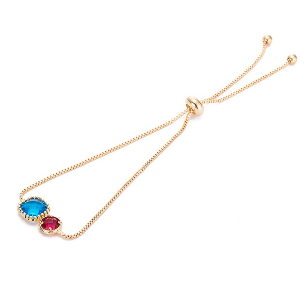 Gold Plated Duo Turquoise & Ruby Gem Bracelet