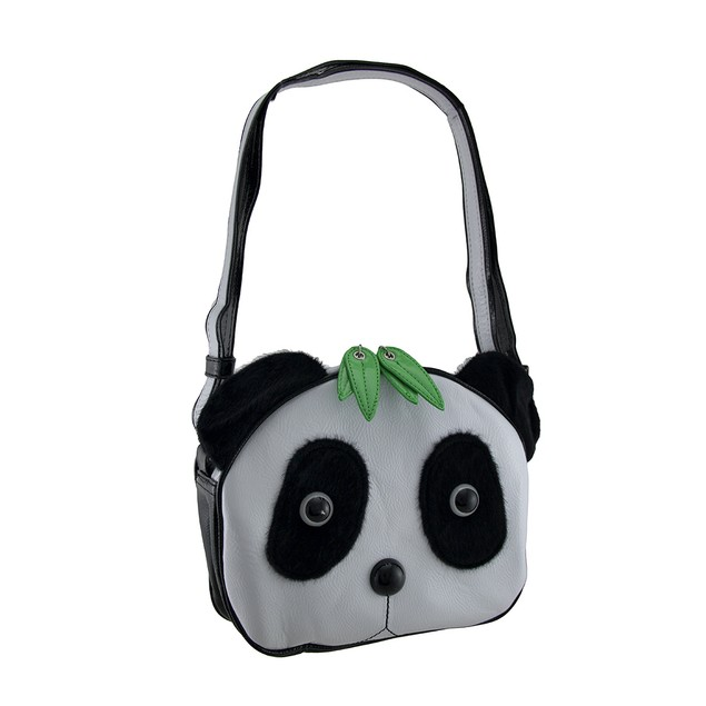 Panda Bear Face Cross Body Handbag W/Faux Fur Eyes Womens Cross Body Bags