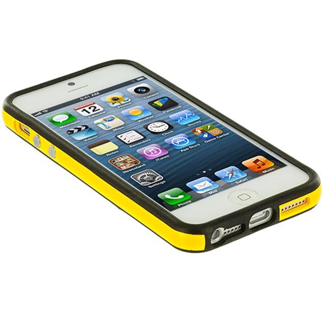 Apple iPhone 5 TPU Bumper Frame Metal Button Case Cover