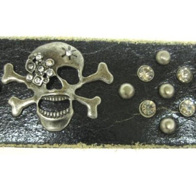 Rhinestone Skull & Crossbones Leather Wristband Mens Leather Bracelets