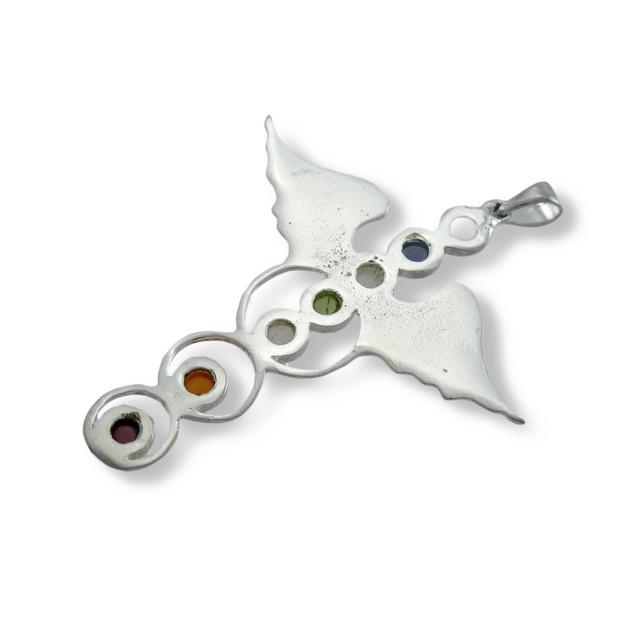 Silver Plated Winged Staff Chakra Pendant Healing Pendants