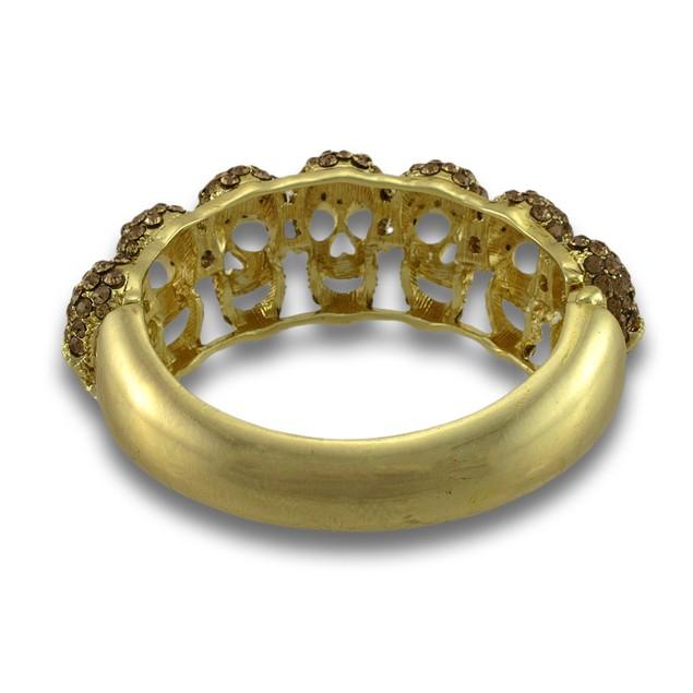 Sparkling Rhinestone Skulls Gold Tone Hinged Womens Bangle Bracelets