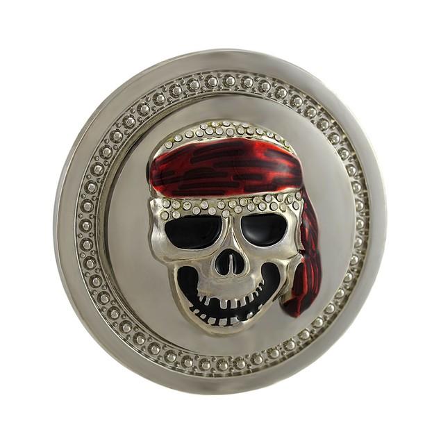 Spinning Red Bandanna Skull Rhinestone Belt Buckle Mens Belt Buckles