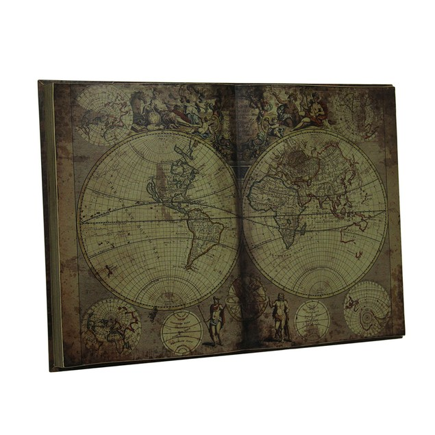 Antique Inspired New World Map Bound Book Wood Decorative Wall Plaques