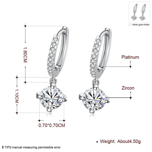 White Gold Plated Classic Drop Cubic Zirconia Earrings