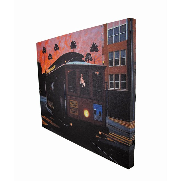 Cable Car At Sunset Led Lighted Canvas Wall Prints