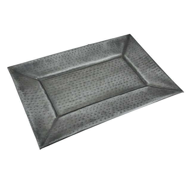 Rectangular Antique Grey Decorative Dimpled Metal Decorative Trays