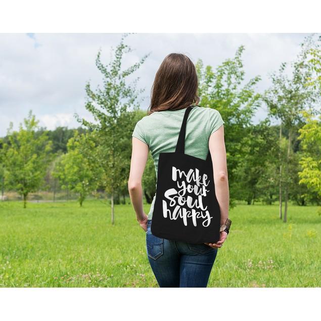Make Your Soul Happy Black Tote Bag