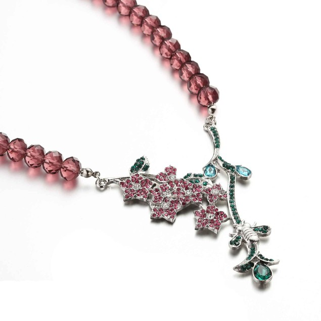 Coral Hue Blooming Vine Crystals Set