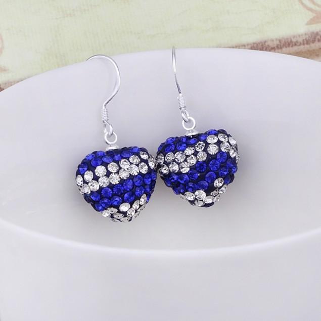 Multi-color Heart Drop Austrian Crystal Earrings