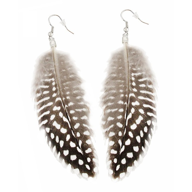 Black And White Spotted Feather Fashion Womens Earring And Necklace Sets