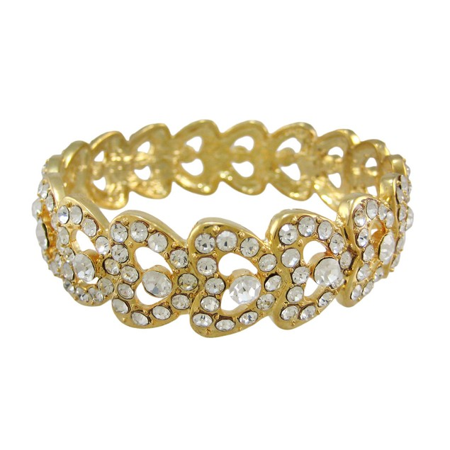 Goldtone Rhinestone Encrusted Bangle Bracelet Womens Bangle Bracelets