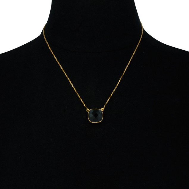 Gold Tone 12ct Cushion Cut Blue Onyx Pendant
