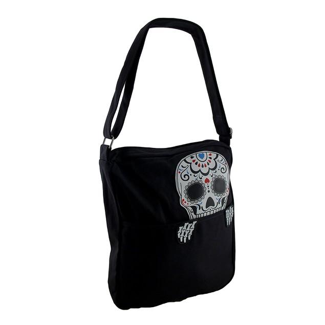 Cranium Curiosity Peeking Sugar Skull Cotton Womens Cross Body Bags