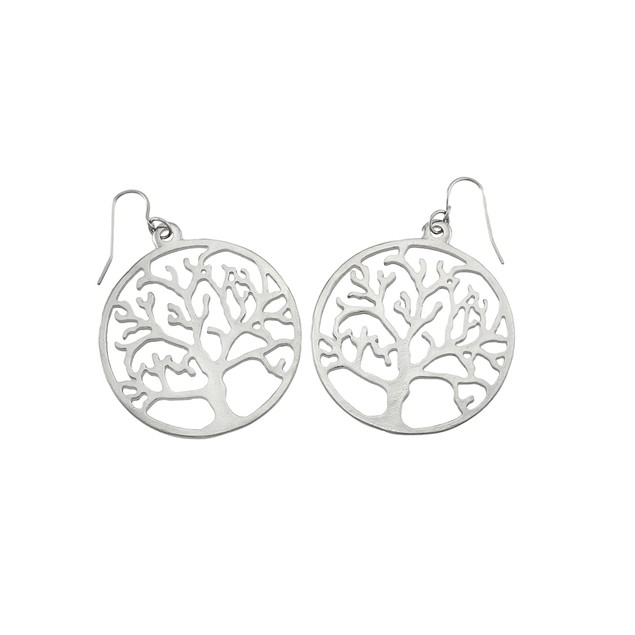 Silver Tone Tree Of Life Round Dangle Earrings Dangle Earrings