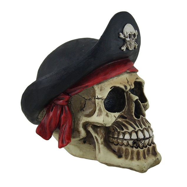 Bony Buccaneer Weathered Finish Pirate Skull Statues