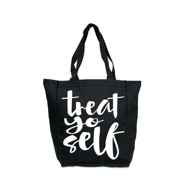 Treat Yo Self Black Tote Bag