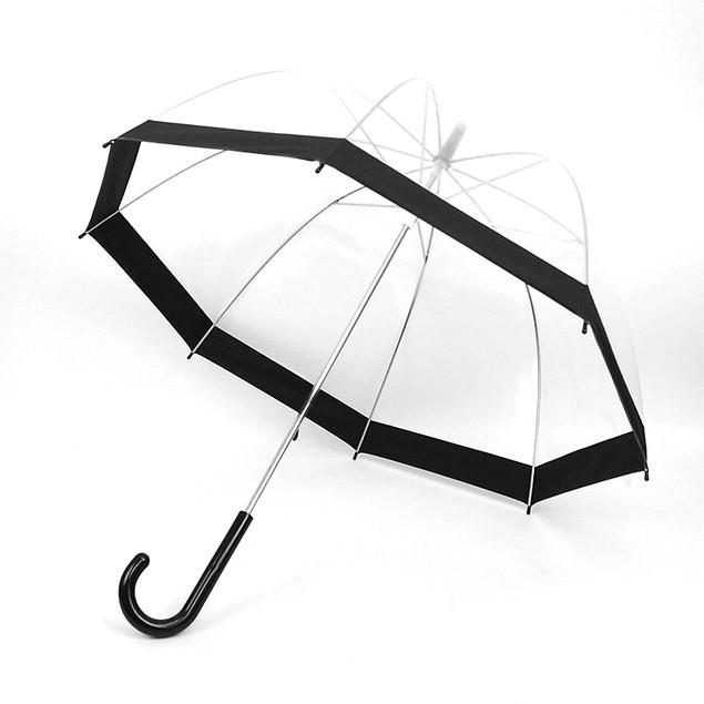 See-Thru-Bubble Wind-Resistant Premium Clear Umbrella with Color Border