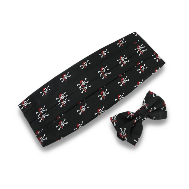 Jolly Roger Bow Tie & Cummerbund Formal Pirate Mens Bow Ties