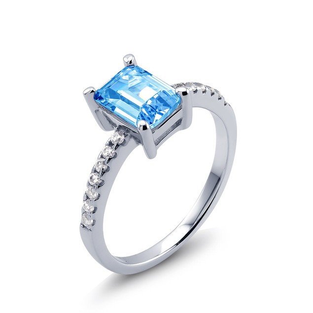 Sterling Silver Emerald Cut Crystal Birthstone Ring - 12 Colors