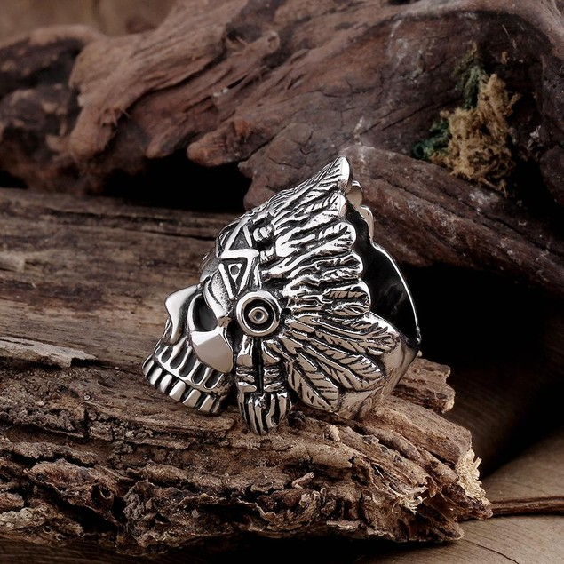 Aztec Tribal Stainless Steel Ring