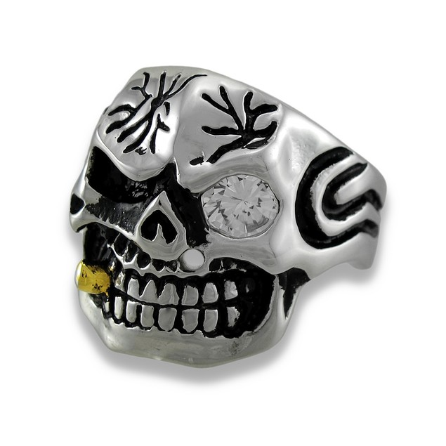Stainless Steel Tribal Skull Ring W/Cigar And Rings