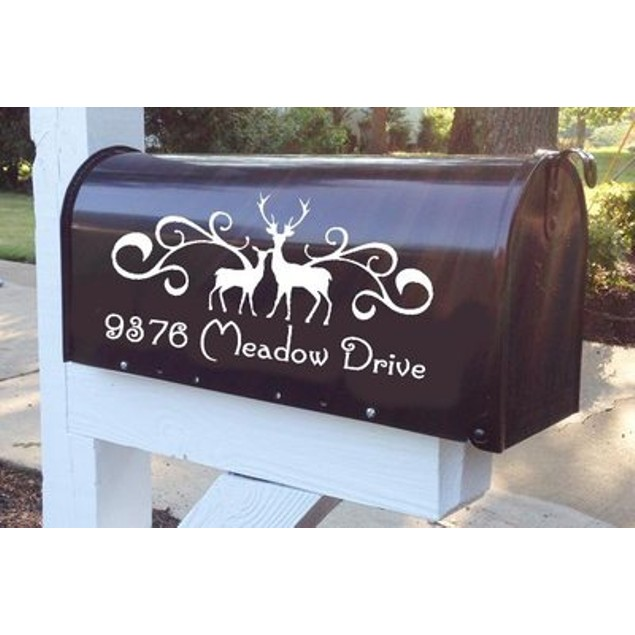 Deers Flourish Mailbox Decal
