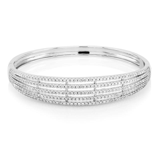 18kt White Gold Plated Diamond Stone Bangle