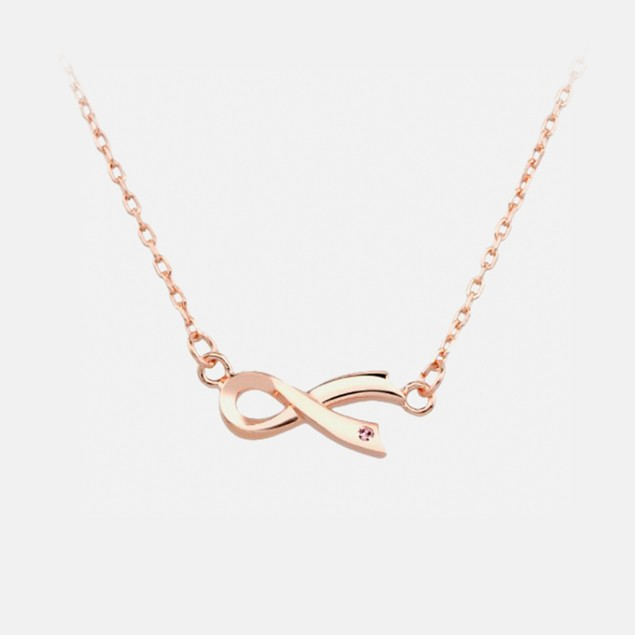 Ladies Sterling Silver Ribbon Necklace w/ Gift Box