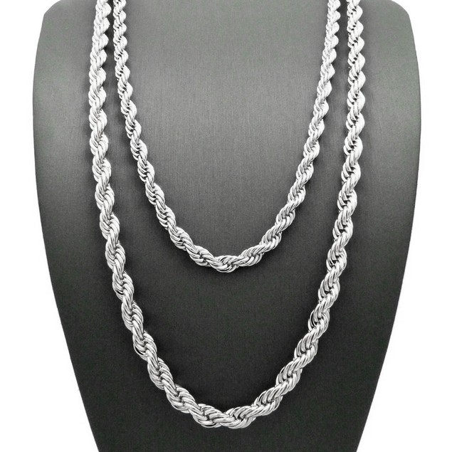 White Gold Plated English Rope Chain Necklace - Choose Length