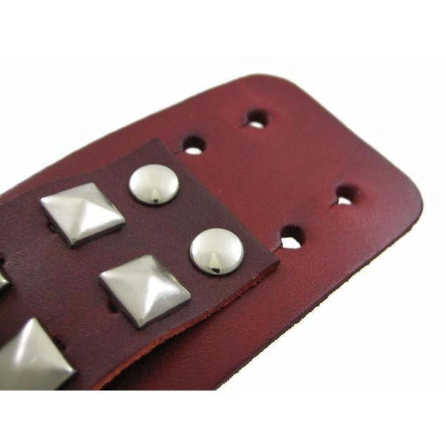 Brown Leather 2 Row Pyramid Stud Wristband Wrist Mens Leather Bracelets