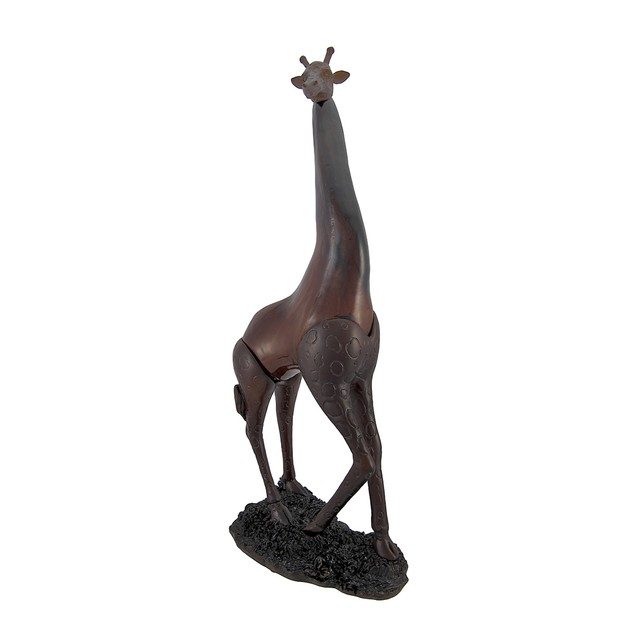 Brown Giraffe Accent Lamp With Marbled Amber Glass Indoor Figurine Lamps