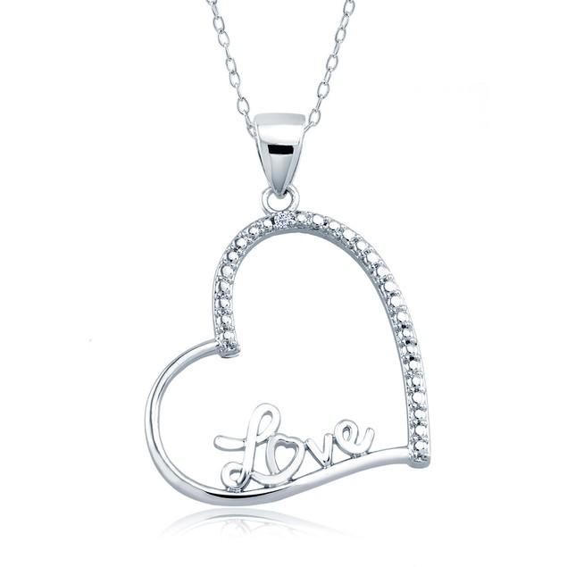 1/10cttw Diamond Accent Mini Love Heart Necklace