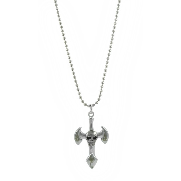 Chrome Bead Chain Necklace With Skull On Cross Mens Pendant Necklaces